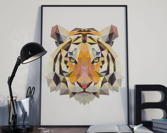 Geometric Animal Print - Geometric Tiger Print - Tiger Poster - Printed Art - Triangle Tiger - Tiger Silhouette - Home Decor - Digital Print