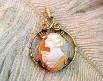 30% OFF FLASH SALE Vtg 40s Carved Shell Cameo Pendant Romantic - As Is