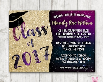 Printable Graduation Invitations, Galaxy Graduation Invites, College Graduation Invitations, High School Graduation Invites, Glitter, Space