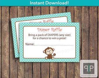 INSTANT DOWNLOAD Monkey Diaper Raffle Tickets, Printable Monkey Diaper Raffle Ticket, Baby Shower Monkey Diaper Raffle Ticket, Diaper Raffle