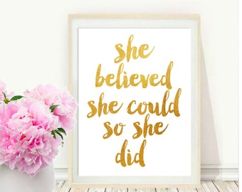 Girls Room Decor, She Believed She Could So She Did, Quote Typography, Inspirational Poster, Art Digital , Wall Decor, Home Decor