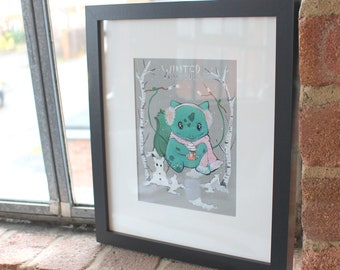 """Framed """"Winter Bulbasaur"""" Painting"""