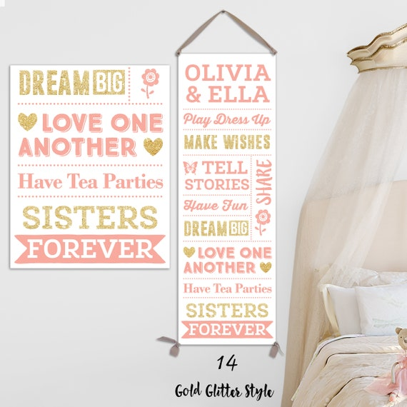 Sisters Wall Art - Personalized on Canvas - Sisters Rules; Sisters GIft; Sisters Sign; Mothers Day Gift, New Baby Gift  - CG11