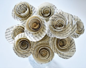 Book Page Roses - Set of 12 - Stemmed Flower - Home or Party Decor