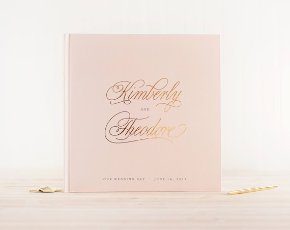Wedding Guest Book Blush and Gold Foil wedding guestbook personalized wedding photo book instant photo booth guest sign in photo guest book