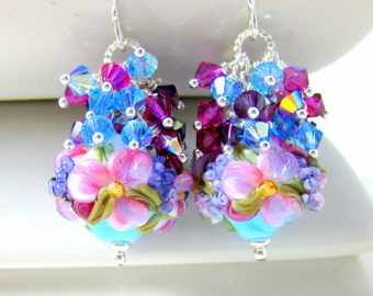 Blue Purple Pink Floral Earrings, Nature Earrings, Lampwork Earrings, Flower Earrings, Crystal Cluster Earrings, Pastel Earrings - Ayla