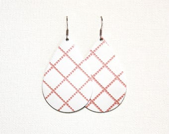 Coral Plaid on White Leather Tear Drop Earrings