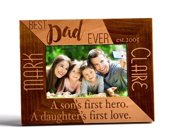 Personalized Father's Day Gift Wooden Picture Frame Laser Engraved Customized Wood Frame With Stand Best Dad Year Name Personalization DSG7
