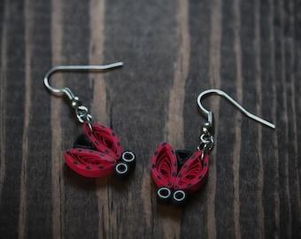 Lady bug/ Lady bug earrings/ Bug earrings/ Insect earrings/ Bug jewelry/ Lady bug Jewelry/ Paper earrings/ Quilling earrings/ Quilling