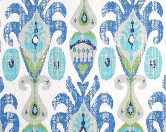"Two 96"" x 50""  Custom Curtain Panels With Grommets - Large Ikat Indoor Outdoor Blue Green"