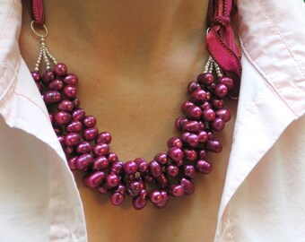 Multistrand Fuchsia Statement on Silk Ribbon, Deep Pink Pearl Bib, Designer Spring Fashion Pearl Necklace, Deluxe Pearl Gift for Her