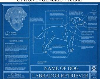 Personalized Labrador Retriever Blueprint / Labrador Retriever Art / Labrador Retriever Wall Art /  Labrador Retriever Gift