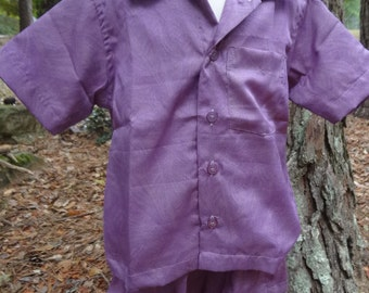 Toddler Boys or Girls Soft Button Down Shirt and Shorts Outfit - Matching Father Child - Purple Print - Jemond 2965