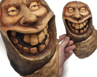 Wood Spirit Wood Carving, Perfect Wood Gift, Hand Carved Wood Art, Handmade Woodworking, Smile, Anniversary Gift, Birthday Gift, Unique Art
