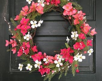 Pink and White Spring Wreath