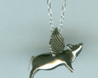 Sterling FLYING PIG Pendant with Chain - 3D -