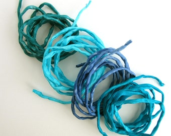 4 Hand Dyed Silk Strings - Blue Silk Cord - Jewelry cord - Turquoise