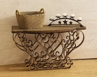 Lovely Miniature Dollhouse Wrought Iron Style Scrollwork look side table in bronze finish  1:12 Scale