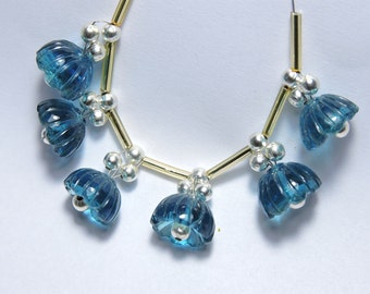 6 Pieces Extremely Beautiful London Blue Quartz Hand Carved Jhumkas. Bell Shaped Beads Size 13X13 MM