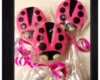 Hot pink Ladybug chocolate covered Oreos personalized favor, centerpiece or candy table, set of 12 ladybug candy