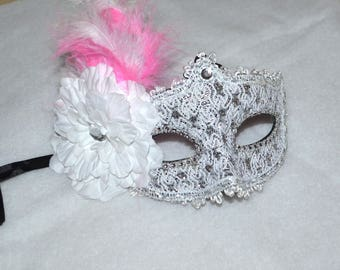 Pink , White and Silver Masquerade Bridal Mask, Mascarade mask, Pink mask, lace mask, mardi gras, costume, sweet 16, homecoming, halloween