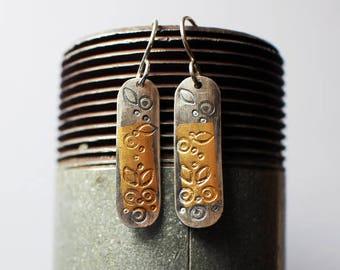 24k Gold and Silver Earrings - boho gift for mom - gift-for-her -sara westermark - etsymetal team - keum boo - 24k gold