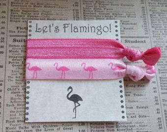 Pink Flamingo Elastic Hair Ties, flamingo hair, party favors, summer hair ties, beach hair, bachelorette favors, bridesmaid, bridal shower