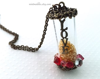 Glass Love Vial Necklace. Moving Seed Beads. Gold. Vintage Style. Long Brass Chain. Romantic. Gifts for Her. Love Charm. Under 25. Couple.