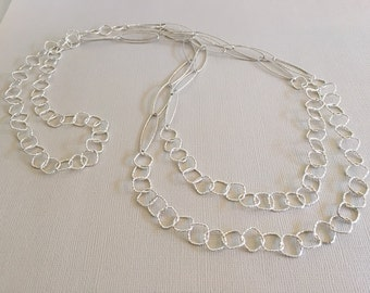 """Sterling Silver Long 37"""" Tiered  Layered Double Strand Glam Necklace Diamonds & Ovals Sterling .925 chain necklace  (636n724)"""