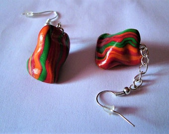 Cherry candy polymer clay earrings fimo clay forain
