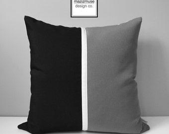 Black & Grey Outdoor Pillow Cover, Modern Pillow Cover, Decorative Throw Pillow Cover, Black White Gray Color Block Sunbrella Cushion Cover