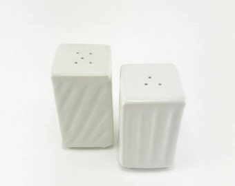 Pottery Salt & Pepper Shakers-Hand Built-Textured-White Glaze-Stoneware-Ready to Ship