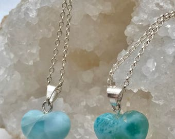 Larimar-Heart-Small-Sterling Silver-Chain-Necklace-for her