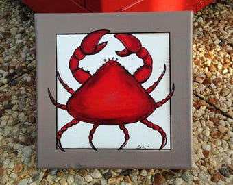 the red paint crab acrylic Deco crustacean Sea Sea