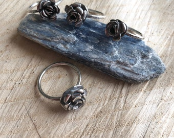 Rose Blossom stackable Sterling Silver made to order ring