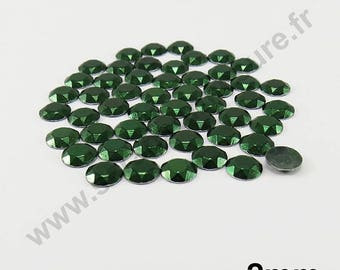 Dome Thermo - emerald green - 2mm - x 200pcs