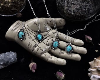 What the Moon Brings: Silver and Turquoise Necklace