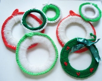 Vintage Yarn Christmas Ornaments, Red, White, Green, Round, Handcrafted, Set of 7  (544-10)