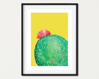 Shy Cactus Nursery Print, Cute Cactus Art, Watercolour Cactus Gift for Kids Rooms