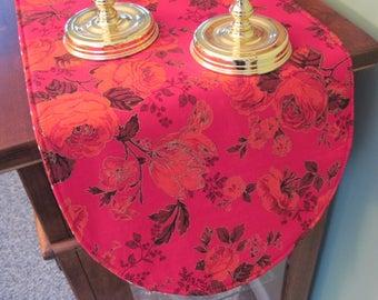 """36"""" Heart Red Roses Table Runner Reversible Valentines Day Table Runner Red Hearts Table Runner Valentines Day Table Decor Red Rose Decor"""