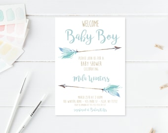 Baby Shower Invitation, Boho, Boho Shower Invites, Floral, Flower, Baby Shower Invites for Boys, Baby Boy, Boy Baby Shower Invites [598]