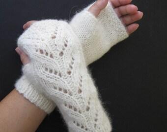 Cream White Hand Knit Fingerless Lace GLOVES in 100% SURI Alpaca Merino Wool