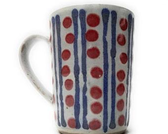Mug - Handmade stoneware pottery - colourful pattern.