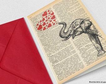 Indian elephant with red hearts Card-funny card-custom card-love card-anniversary card-wedding card-elephant card-set of 3 card-NATURA PICTA
