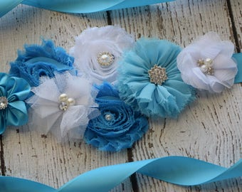 Turquoise white Sash , flower Belt, maternity sash, wedding sash, flower girl sash, maternity sash belt
