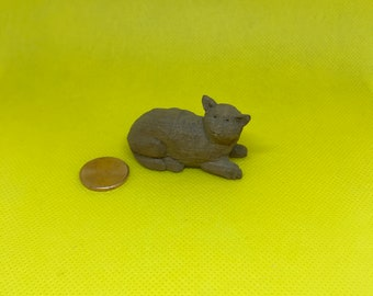 Miniature Cat, Hand-Carved Wood