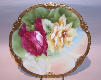 8543: Antique Coronet Limoges PM of De Mavaleix Charger Cabinet Plate Roses Heavy Gold Trim Artist Signed Ferrand Hand Painted