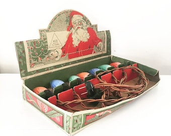 Vintage Ace Outdoor Christmas Lights, 7 Bulb Strand, C9 GE Flame Swirl Bulbs, Original Santa Box