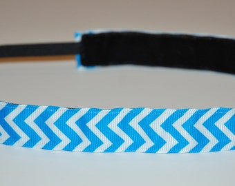 Non-Slip Headband - Blue and White Chevron - THIN size - zig zag headband