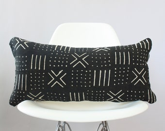 "Black African Mudcloth Lumbar Pillow Cover 12"" x 24"""